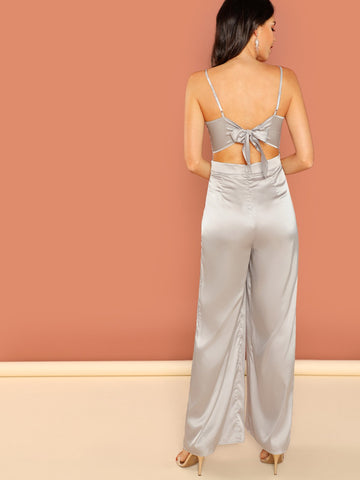 Jumpsuits - Women's Trendy Grey Crisscross Plunging Neck Cami Satin Jumpsuit