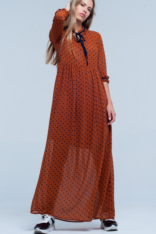 Orange V-Neck Sleeves Maxi Dress