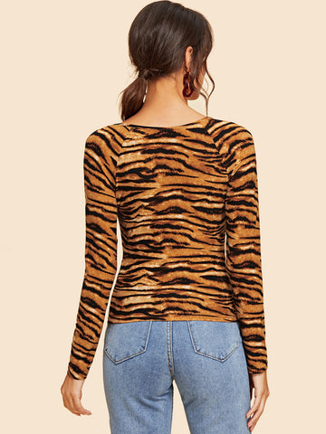 Blouses - Women's Trendy Brown Tiger Pattern V-Neck Tee