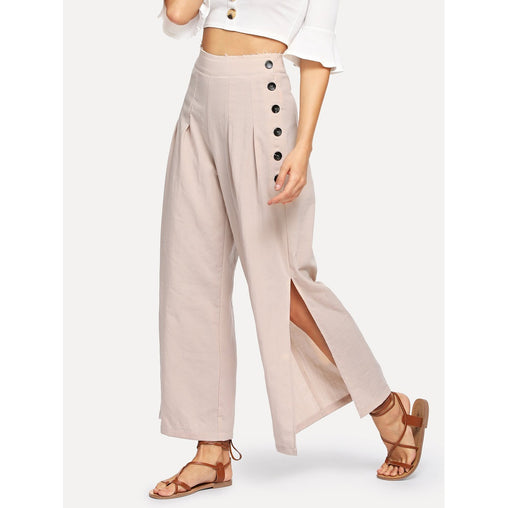 Apricot Double Button Pleated Split Wide Leg Pants