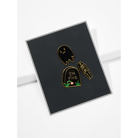 Black Skeleton Detail Brooch Set 3pcs