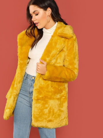 Yellow Faux Fur Open Front Side Pocket Coat