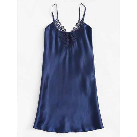Bras - Women's Trendy Blue Satin And Lace Cami