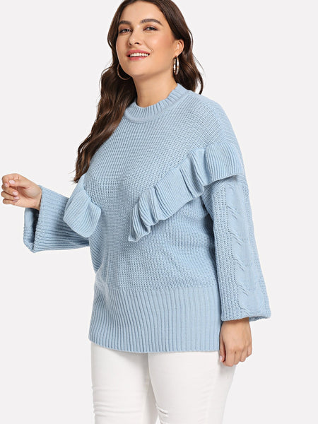 Plus Size Blue Ruffle Detail Solid Sweater