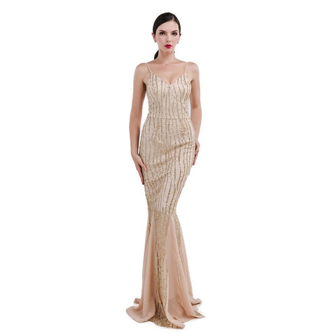 Champagne Gold Sequin Evening Dress