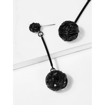 Black Hollow Ball And Bar Detail Drop Earrings