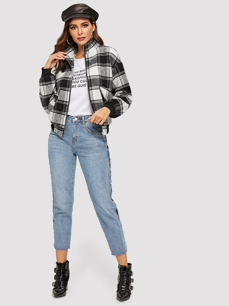Black and White Front Collar Plaid Coat