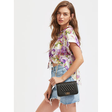 Black Quilted Flap Crossbody Bag With Chain - Fashiontage