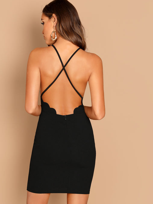 Black Scallop Trim Halter Short Dress