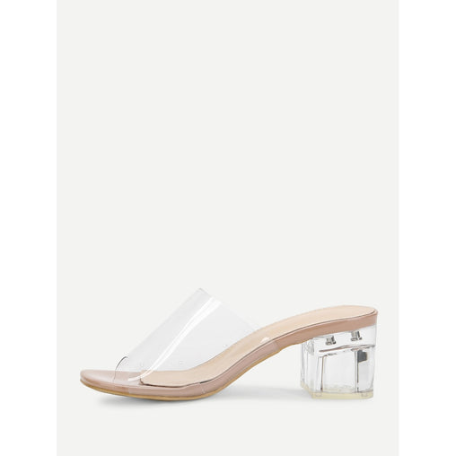 Chunky Heeled Clear Mule Sandals - Fashiontage
