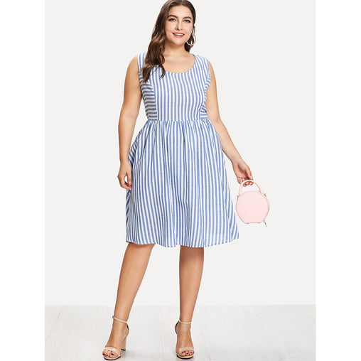 Plus Size Blue Mixed Striped Shell Dress