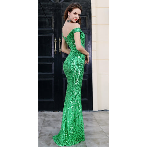Bridal Dresses - Women's Trendy Green Sequin Cocktail Dress