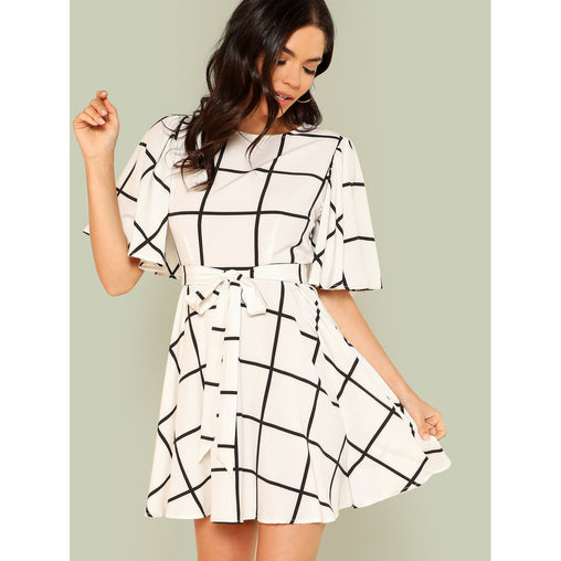 Black And White Bell Sleeve Grid Dress With Belt