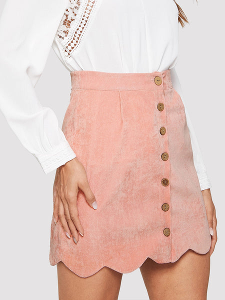 Pink Scallop Hem Button Mini Skirt