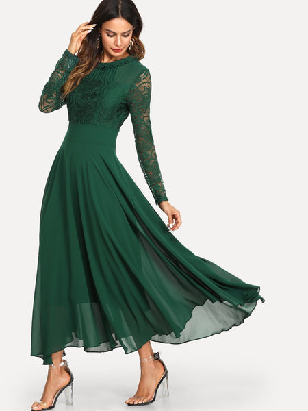 Green Round Neck Shift Pleated Dress