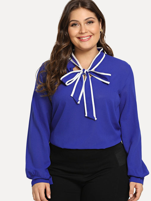 Plus Size Blue Self Tie Neck Top