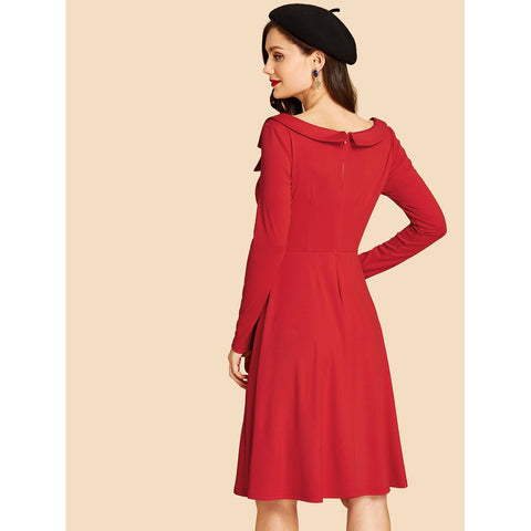 Day Dresses - Women's Trendy Red Double Button Fit And Flare Dress