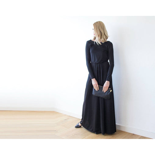 Black Boat Neck Long Sleeve Maxi Dress
