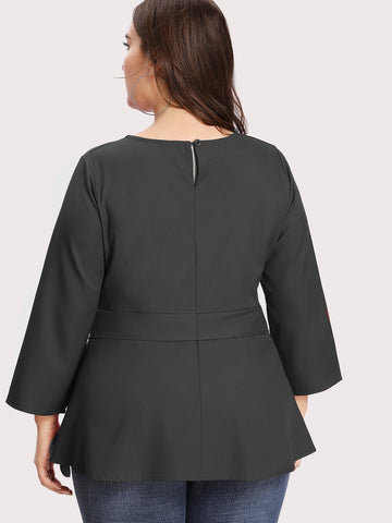 Plus Size Black Self Tie Solid Blouse