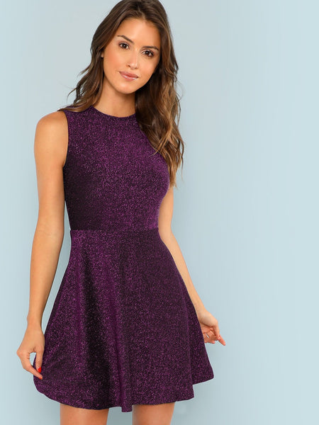 Purple Fit and Flare Sleeveless Glitter Short Dress