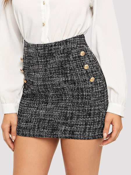 Grey Frayed Edge Tweed Mini Skirt