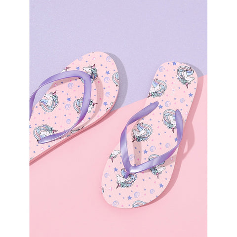 Pink Unicorn Pattern Toe Post Slippers