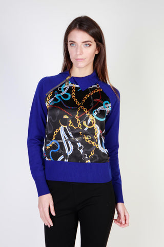 Cavalli Class Blue Collar Long Sleeve Sweater