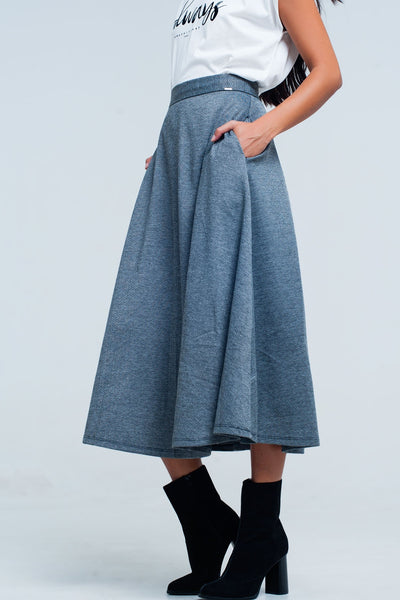 Grey Mini High Waist Skirt