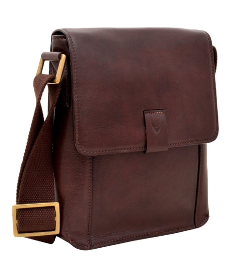 Brown Small Leather Messenger Crossbody Bag