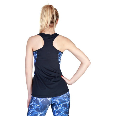 Vests & Tank Tops - Women's Trendy Elle Sport Blue Racerback Polyester Tank Top