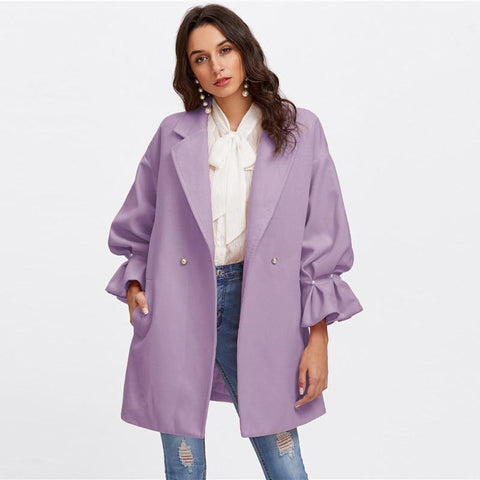 Purple Collar Wool Coat