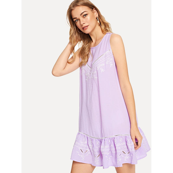 Purple Lace Insert Embroidered Drop Waist Dress