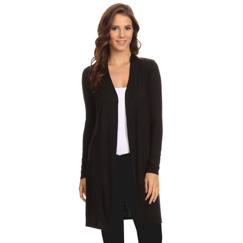 Plus Size Tops - Women's Trendy Black Long Open Front Small Cardigan