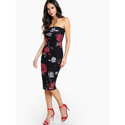 Black Strapless Sleeveless Floral Party Dress