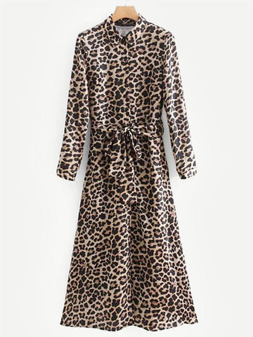 Shirts - Women's Trendy Leopard Print Self Tie Shirt Dress
