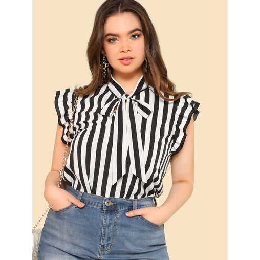 Plus Size Black And White Tie Neck Striped Ruffle Blouse