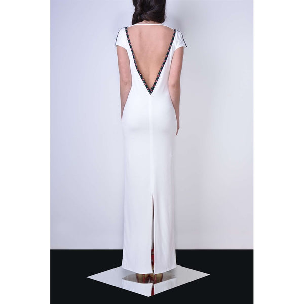 Day Dresses - Women's Trendy White V-Neck Maxi Dress