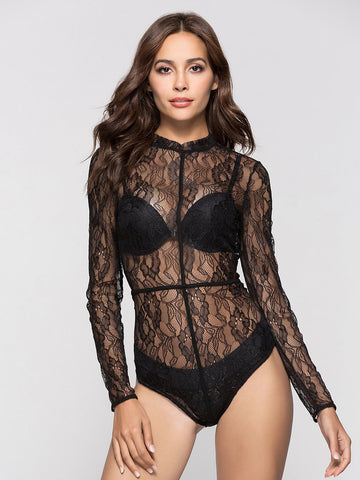 Bras - Women's Trendy Black Lace Hollow Out Bodysuit