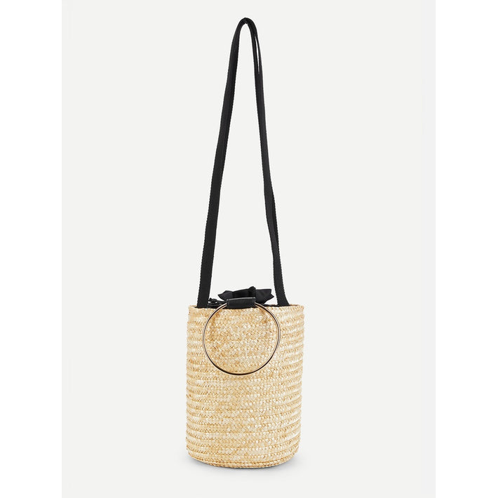 Beige Straw Ring Handle Bucket Crossbody Bag