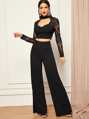 Wide Leg Pants - Women's Trendy Open Front Lace Contrast Crop Top Wide Leg Pants Set