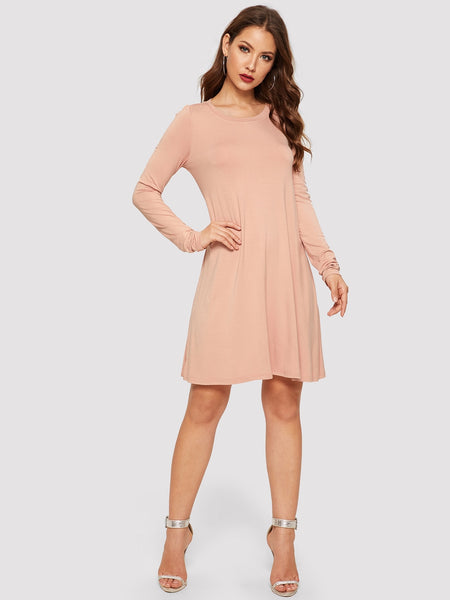 Solid Swing T-shirt Dress