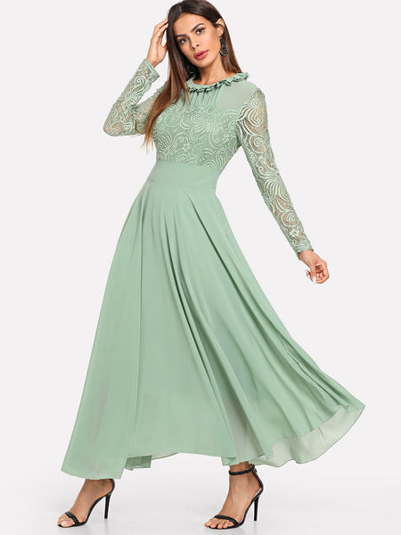 Green Collar Neck Pleated Dress