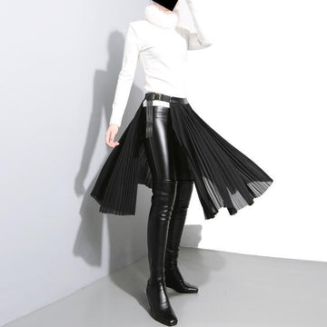 Pleated Knee Length Leather Skirt