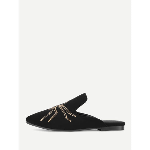 Black Spider Embroidery Suede Flat Mules