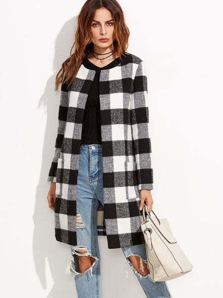 Black And White Checkered Open Front Collarless Coat