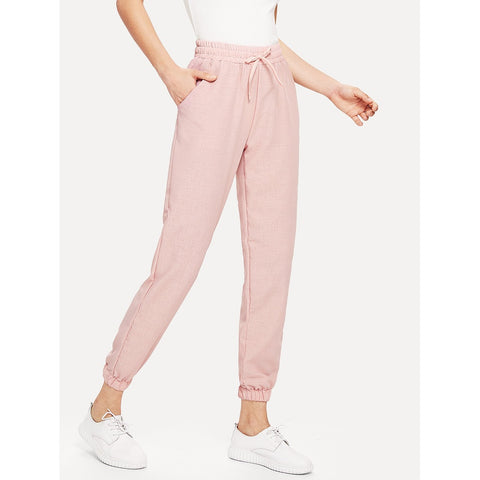 Tapered Pants - Women's Trendy Pink Drawstring Waist Knot Pants