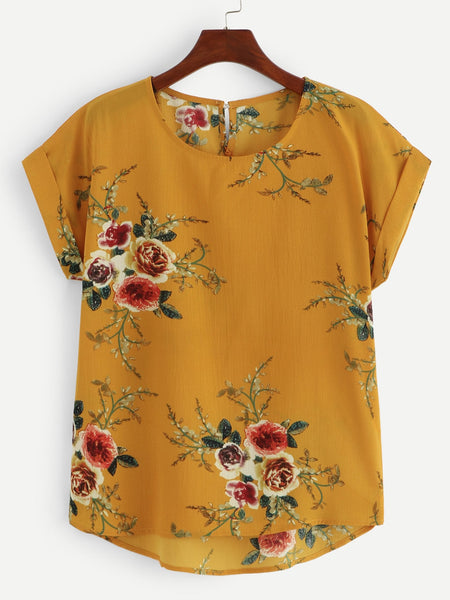 Plus Size Ginger Floral Print Cut Out Back Blouse