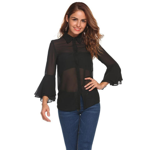 Plus Size Tops - Women's Trendy Plus Size Black Collar Long Sleeve Shirt Top