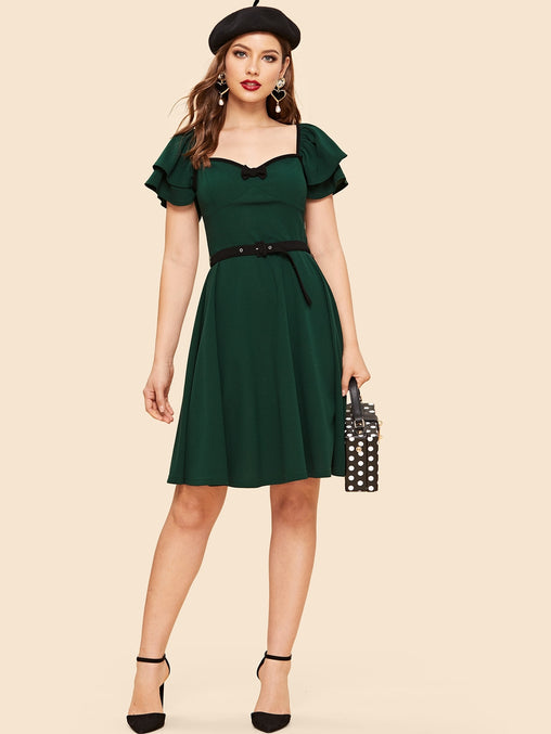 Green Neck Bow Layered Sleeve Midi Dress