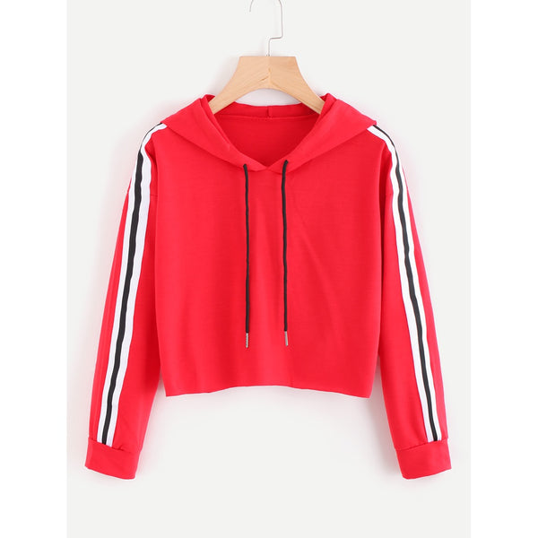 Red Hooded Long Sleeve Pullover Top